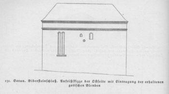 Rys. 131 Żary. Zamek Bibersteinów. Rzut pionowy części wschodniej znaniesieniem zachowanych gotyckich blend